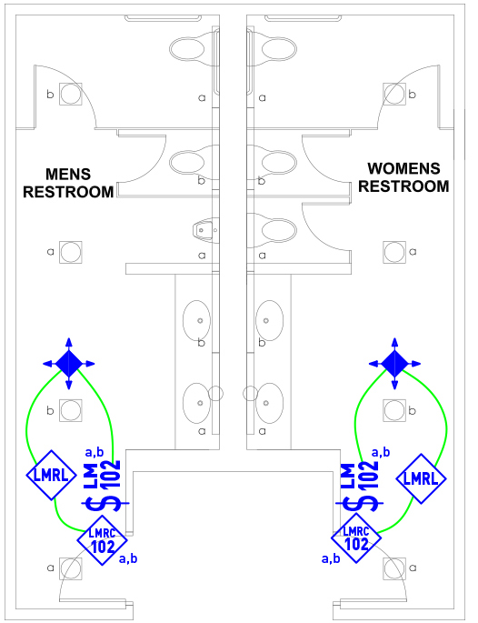 image of Multi-Stall Restroom wired layout